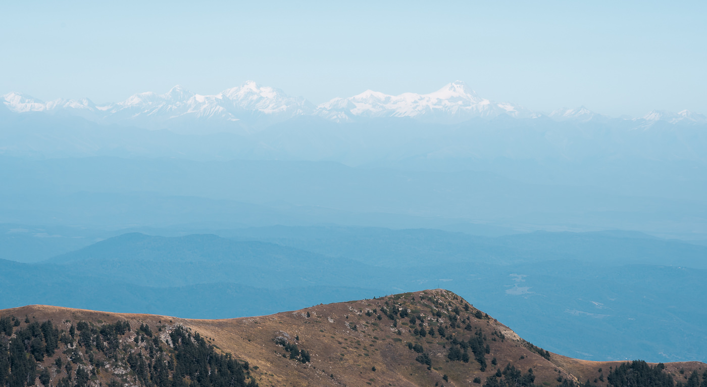 A view of distant Mt Kazbek from Day 2 of the St Andrews Trail in Borjomi-Kharagauli National Park