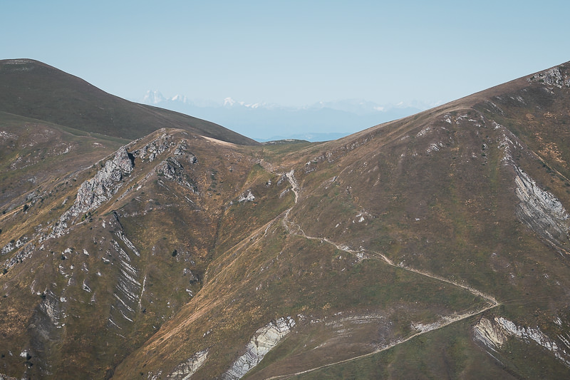 A view of the St Andrews Trail and the Greater Caucasus Mountains beyond, in Borjomi-Kharagauli National Park