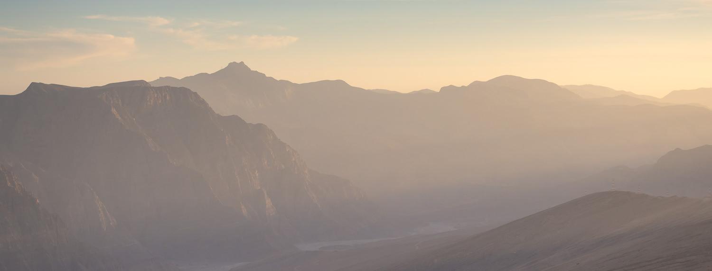 Sunset in Musandam mountains Wadi Bihi