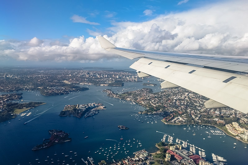 Flying over Sydney harbour