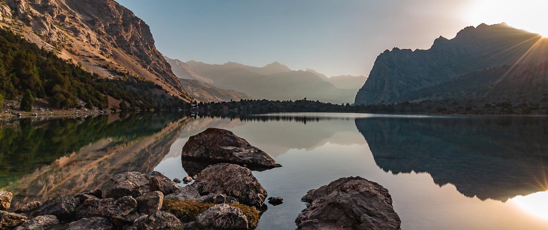 Sunrise over Alauddin Lake in Tajikistan's Fann Mountains