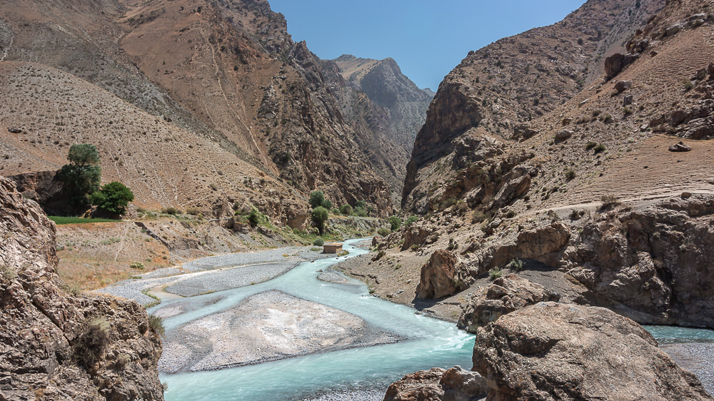 The confluence of the Archamaidan and Sarymat Rivers in the Fann Mountains of Tajikistan