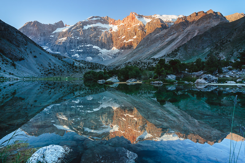 Crystal clear mornng reflections at Bibidzhonat Lake in the Fann Mountains of Tajikistan
