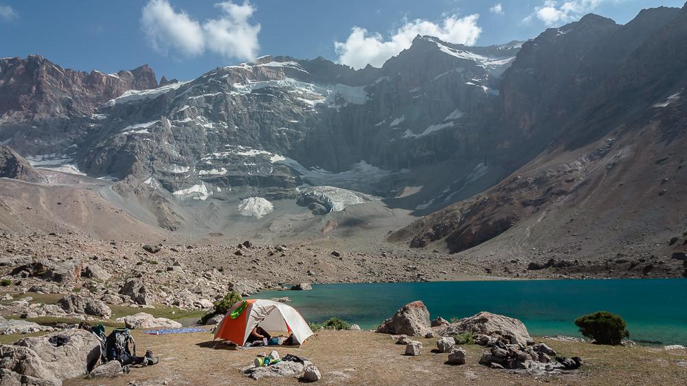 Camping at Lake Dushakha beneath the towering Mt. Mirali