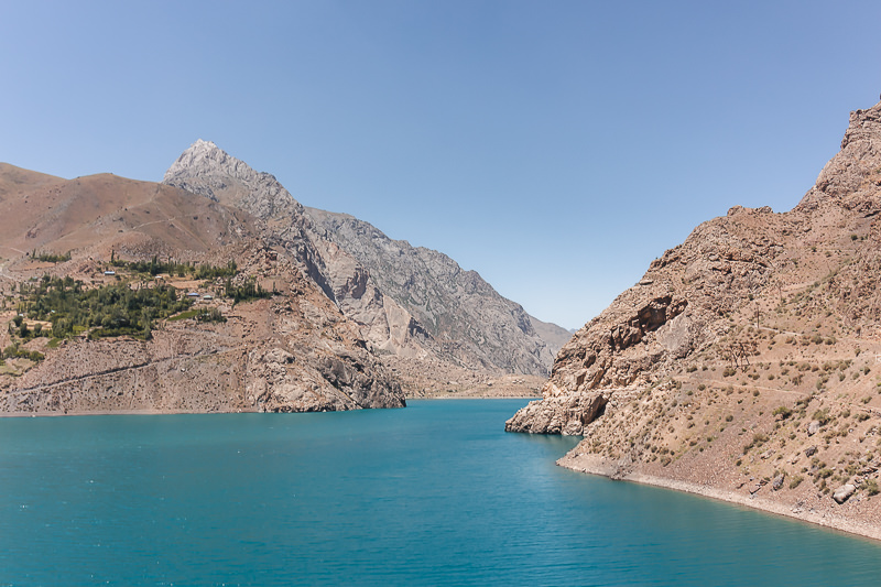 The blue water of Marguzor, the 6th lake of the Haft Kul (Seven Lakes) in Tajikistan's Fann Mountains