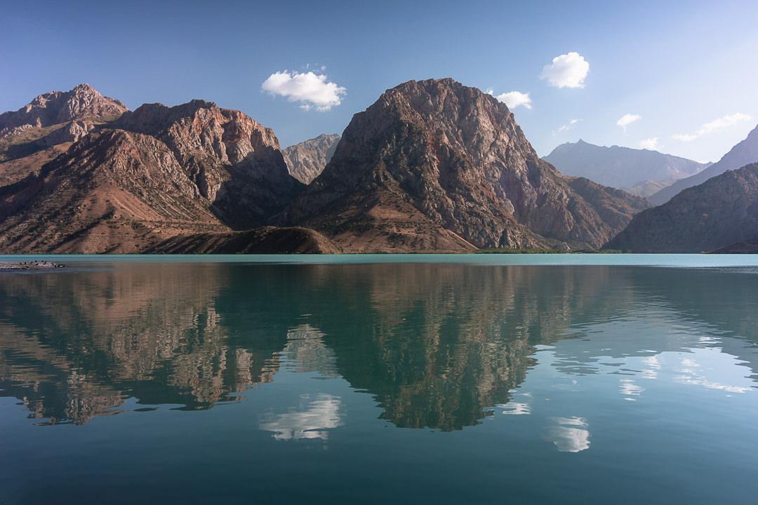 Mountain reflections at Iskanderkul, the biggest lake in the Fann Mountains of Tajikistan