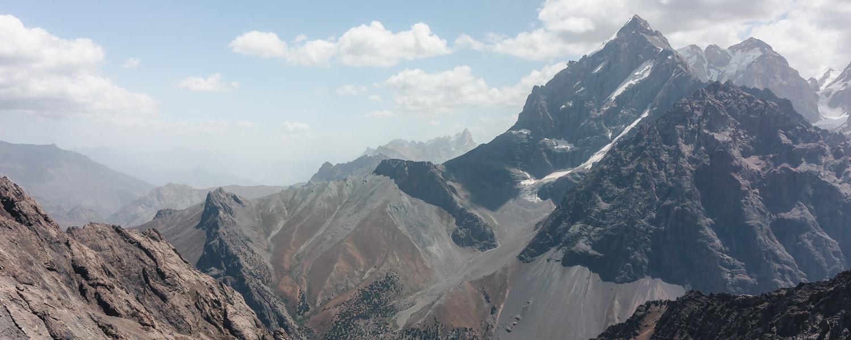 Sharp peaks in the Fann Mountains