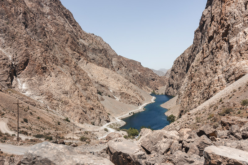 Looking back down on the 5th lake of the Haft Kul while trekking in the Fann Mountains