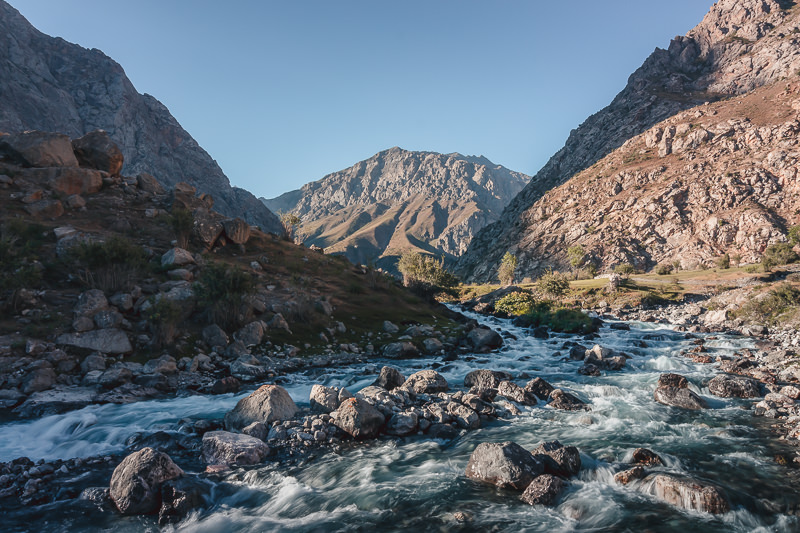 The river rushing down from Hazorchama, the 7th lake of the Haft Kul in the Fann Mountains, Tajikistan