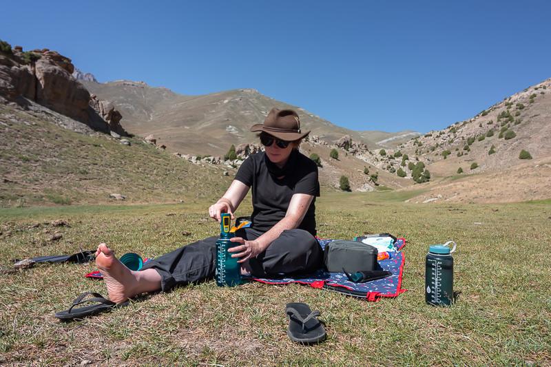 Using a Steripen is the best way to get safe drinking water when Fann Mountains trekking in Tajikistan