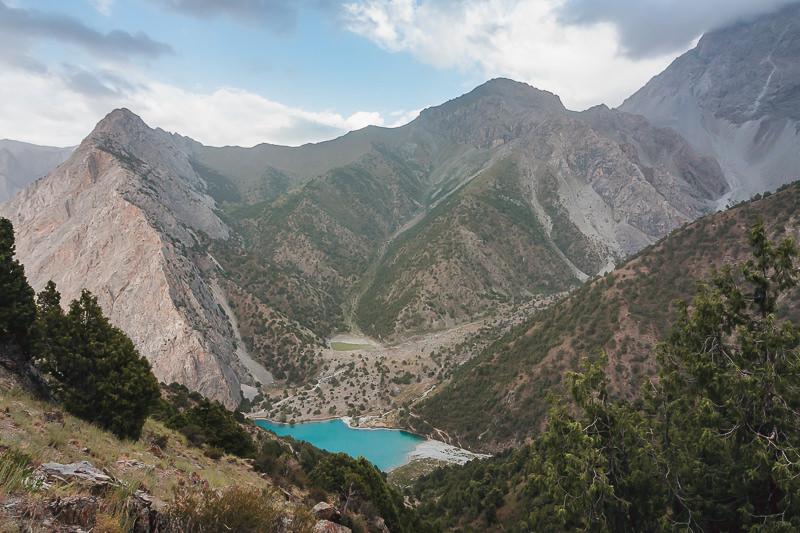 Chukurak Lake sits nestled among tall peaks in the Fann Mountains of Tajikistan
