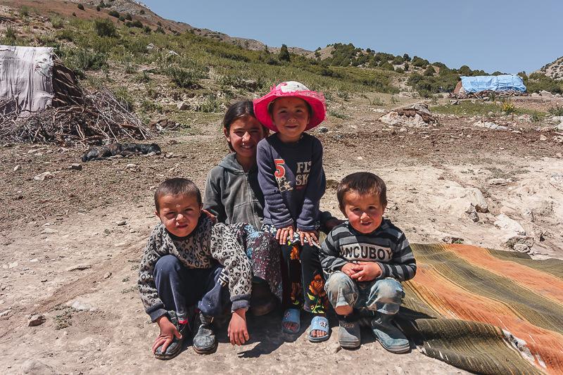 Friendly kids from local nomad families in Tajikistan's Fann Mountains