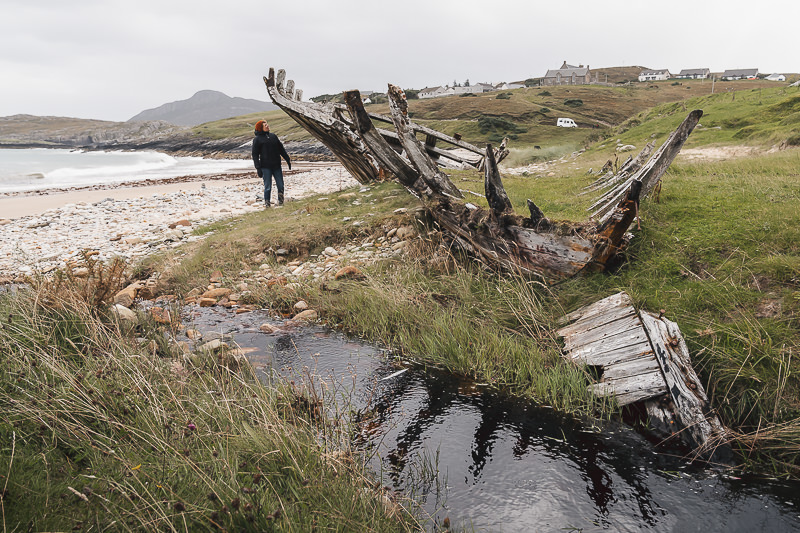 A person looks in interest at the wooden ribcage of the boat wreck at Talmine