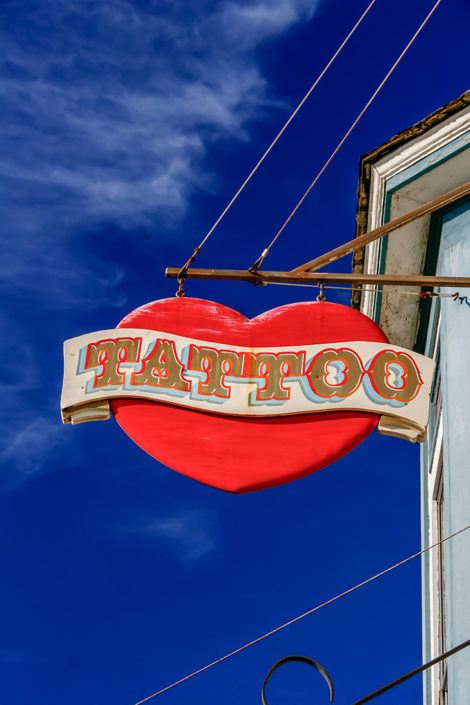 A photographic journey: Tattoo Parlour shopfront sign, Fort Bragg, Mendocino County, California, USA