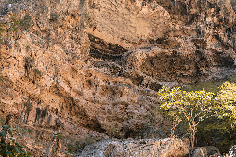 Looking up from the platfrom near the bottom of the Tawi Atair sinkhole in Oman, the solitary figure tiny far above