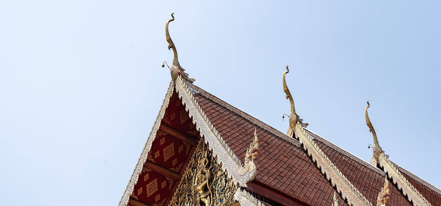 An ornate temple roof in Chiang Mai, Thailand
