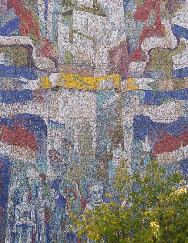 The Soviet mosaic 'Flourish, Kyrgyzstan!' in Bishkek
