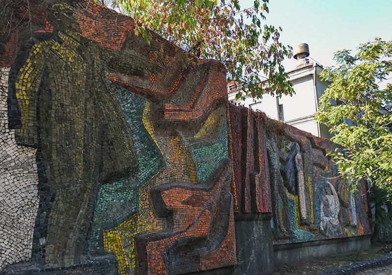 The Soviet mosaic 'Lenin Is With Us' in Bishkek