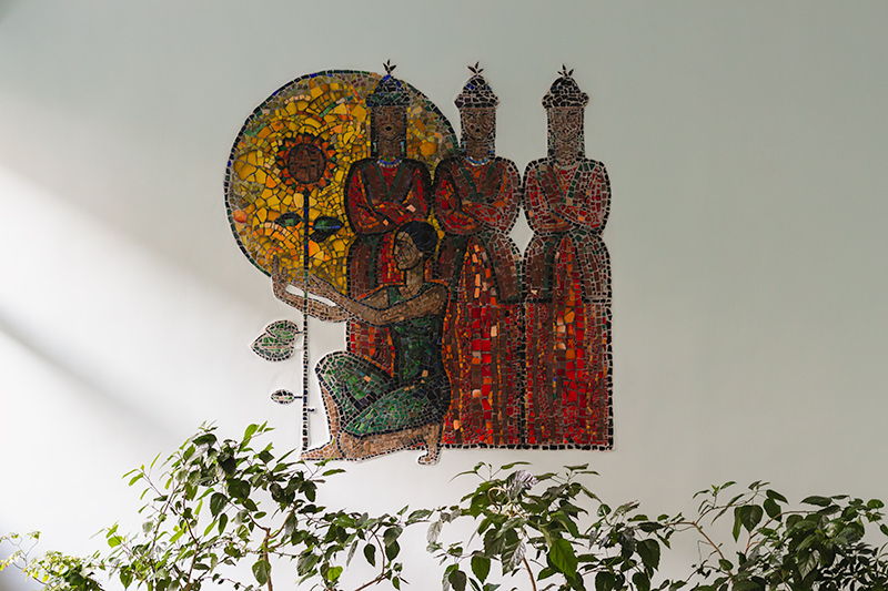 The Soviet mosaic 'Song' in the Shubin Music School in Bishkek
