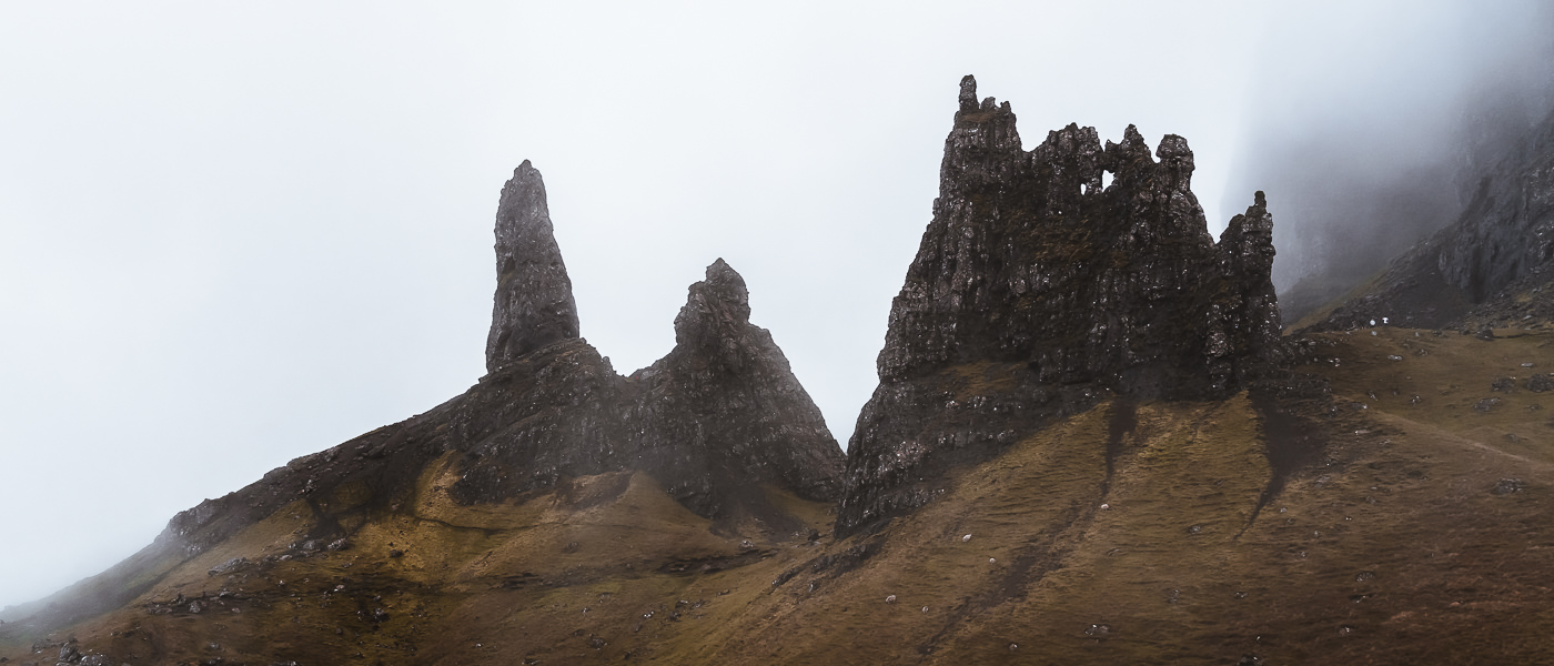 The jagged pinnacles of The Storr in a moody mist on the Isle of Skye in Scotland