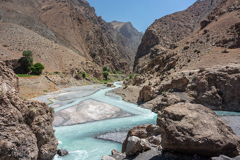 Independent Trekking In The Fann Mountains, Tajikistan: Haft Kul to Alauddin - The confluence - the Sarymat meets the mighty Archamaidan