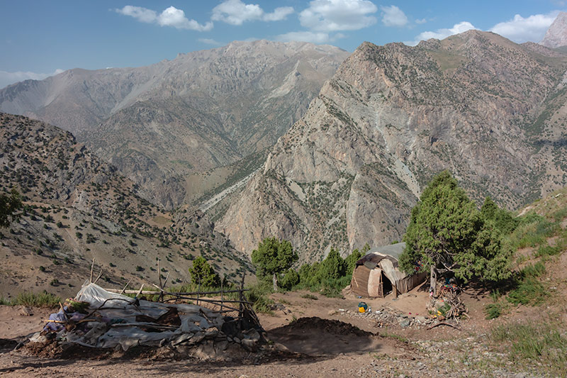 Independent Trekking In The Fann Mountains, Tajikistan: Haft Kul to Alauddin - The homes of nomad families just past the Guitan (Igrok) Pass