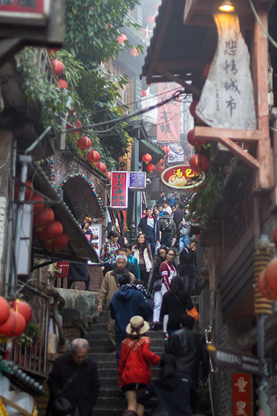 Day Trip From Taipei: Steep steps and lanterns leading up Shuqi Road, Jiufen, Taiwan