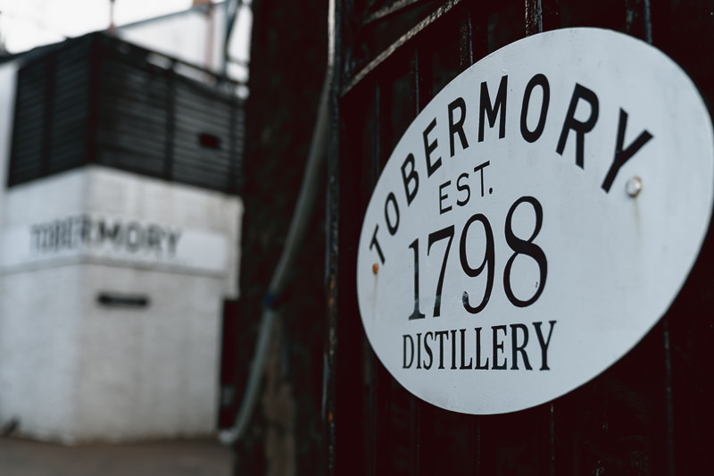 The entrance to Tobermory distillery on the Isle of Mull