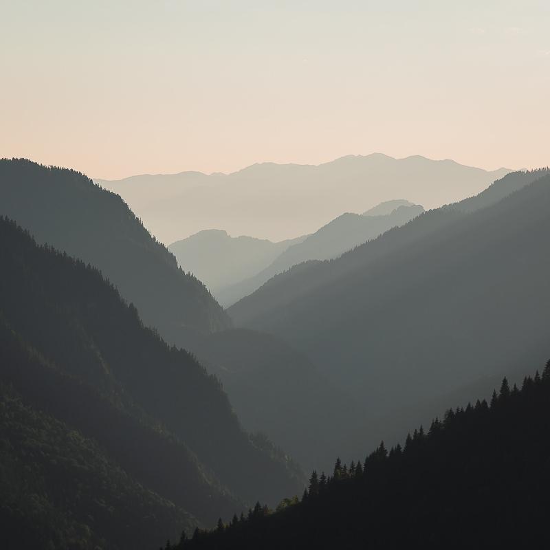 Mountain layers at sunset in Kichkhuldashi, on the Chuberi to Mestia section of the Transcaucasian Trail in Svaneti
