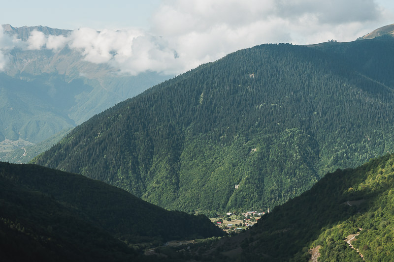 Looking back down to Mazeri village from the trail, on the Chuberi to Mestia section of the Transcaucasian Trail in Svaneti