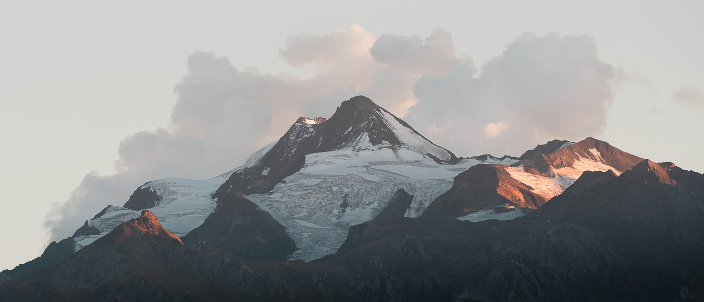 A view at sunset of Mount Laila in the Svaneti Range, seen from Etseri, one of the villages to stay in on the Chuberi to Mestia section of the Transcaucasian Trail