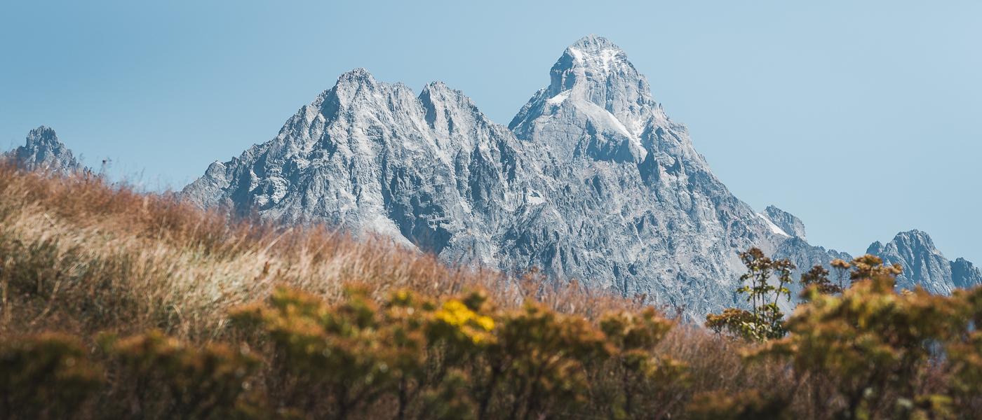 The peaks of Mazeri and Ushba seen from Bak Pass on the Chuberi to Mestia section of the Transcaucasian Trail in Svaneti, Georgia