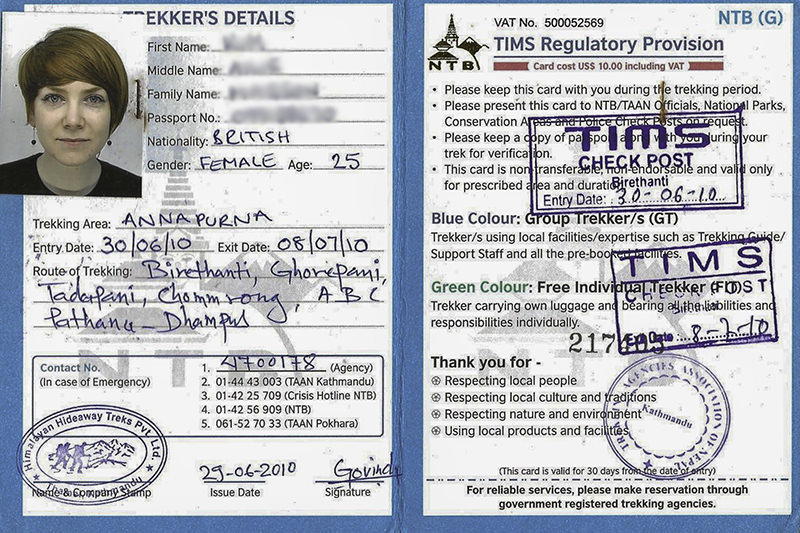 Trekkers' Information Management System Card (TIMS)