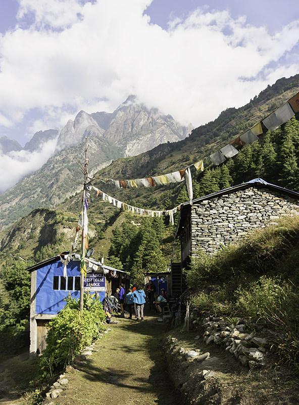 Trekkers stopped at a trailside lodge for morning tea on the Manaslu Circuit Trek