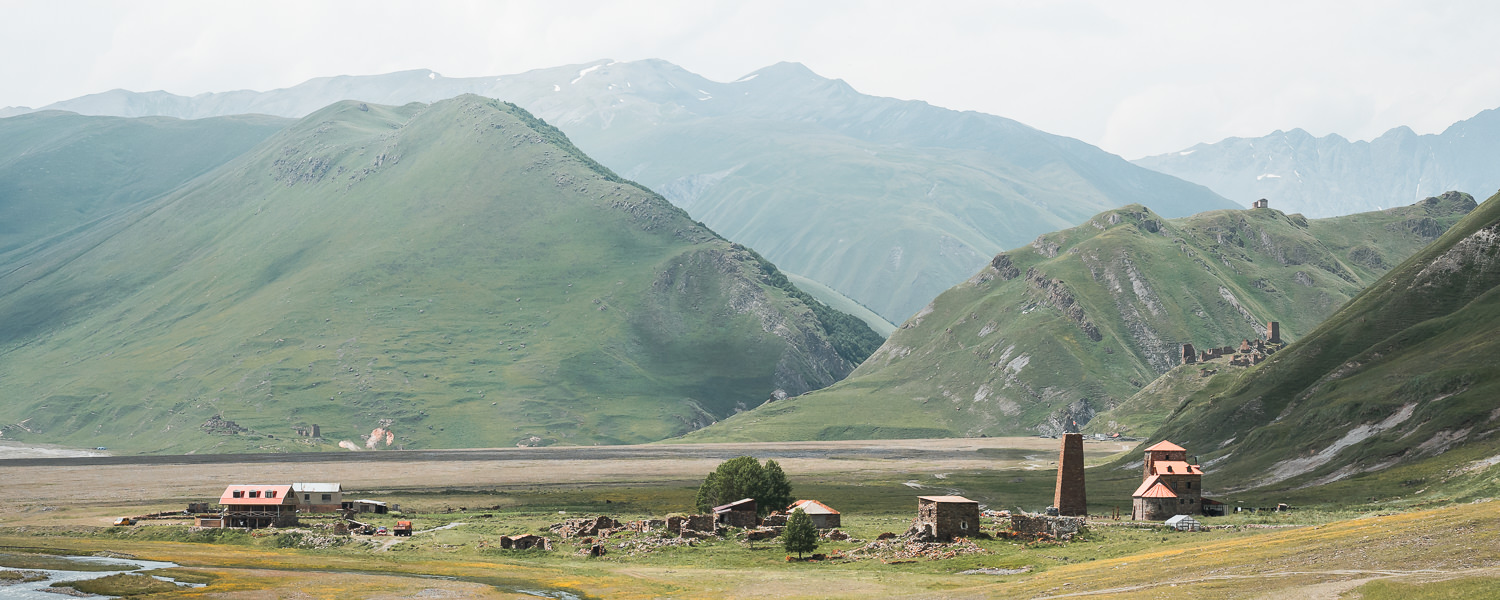 The settlement of Abano in Truso Valley, with the old monastery on the right and Zakagori Fortress seen behind