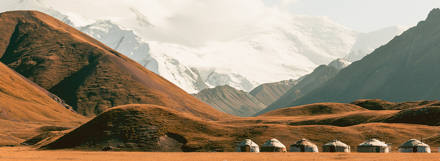 Yurts lined up at Tulparkul, in the shadow of Peak Lenin