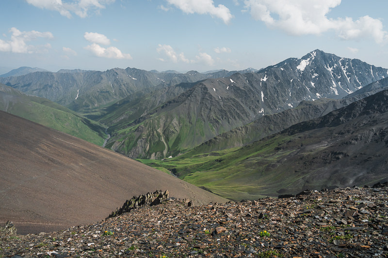 The view of the mountains and valleys of Tusheti from Atsunta Pass on the Shatili Omalo trek