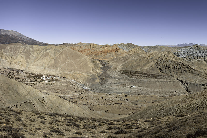 A Panoramic view of Ghami village in Upper Mustang