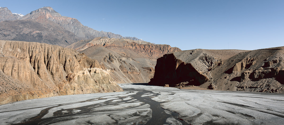 The Kali Gandaki River snakes down the valley in multiple channels between rocky cliffs in Upper Mustang