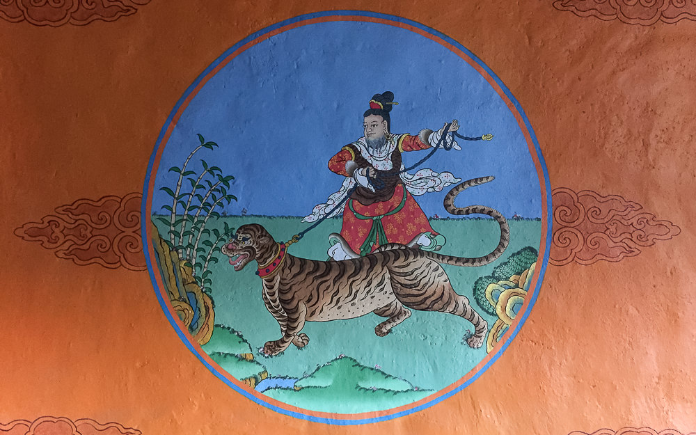Colourful handpainted artwork on the walls of the Lo Ghami Guesthouse in Upper Mustang