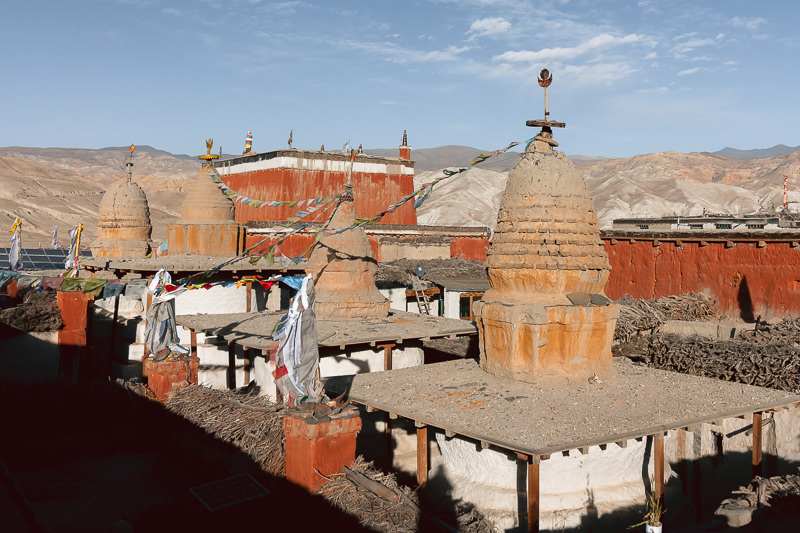 A view of Jampa Gompa and the domed tops of chortens in Lo Manthang, as seen from the city walls