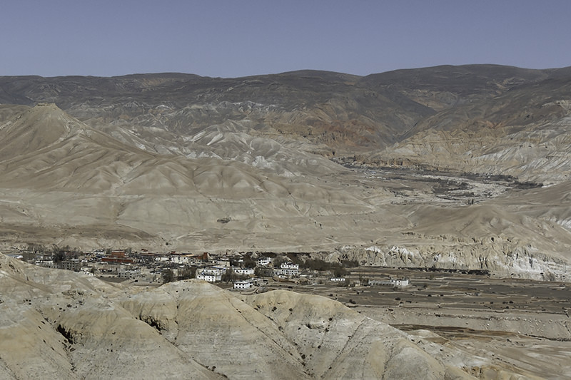 A panoramic view of Lo Manthang, as seen from a viewpoint on an Upper Mustang trek