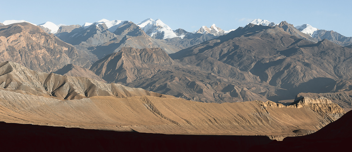 Upper Mustang mountainscape at sunset, seen from Ghami on Day 3 of an Upper Mustang trek.