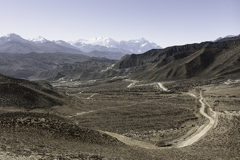 A view of the wide valley to the south, seen while climbing towards the Nyi Pass on the third day of the Upper Mustang trek.