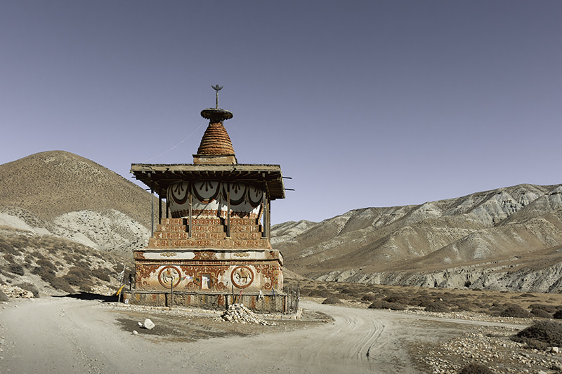 Colourful Sungda Chorten, sitting in the middle of the dusty road between Tsarang and Lo Manthang