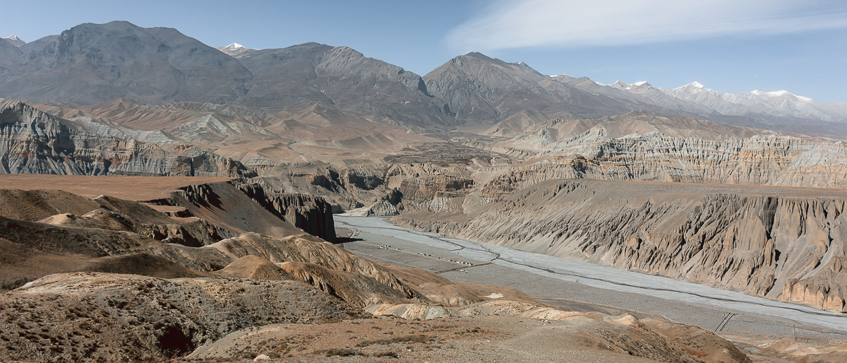 The river and mountain view towards Tsarang from above Dhye on the Upper Mustang trek