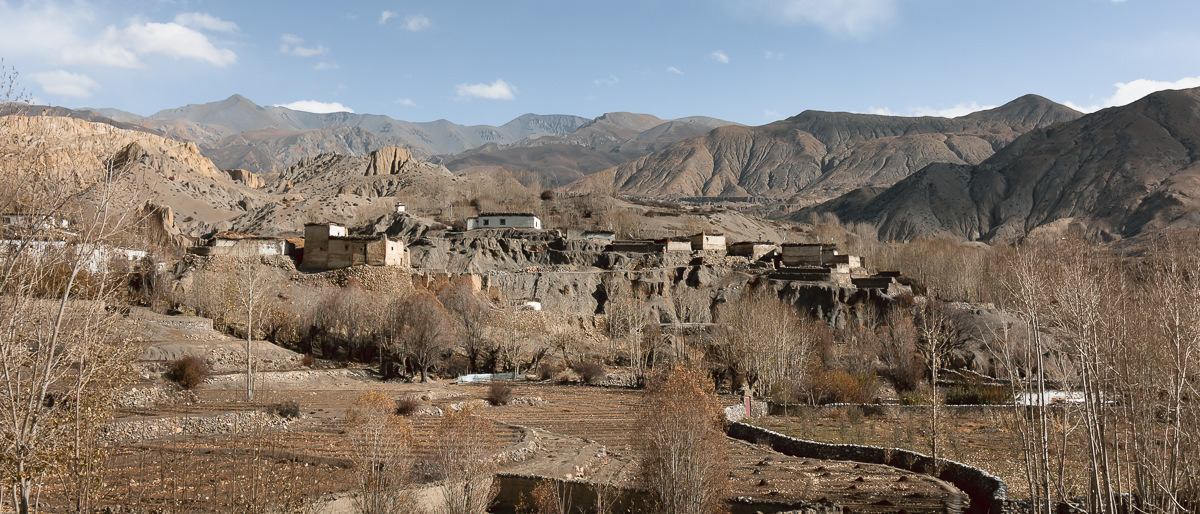 The blocky whitewashed houses and terraced fields of Yara village in Upper Mustang