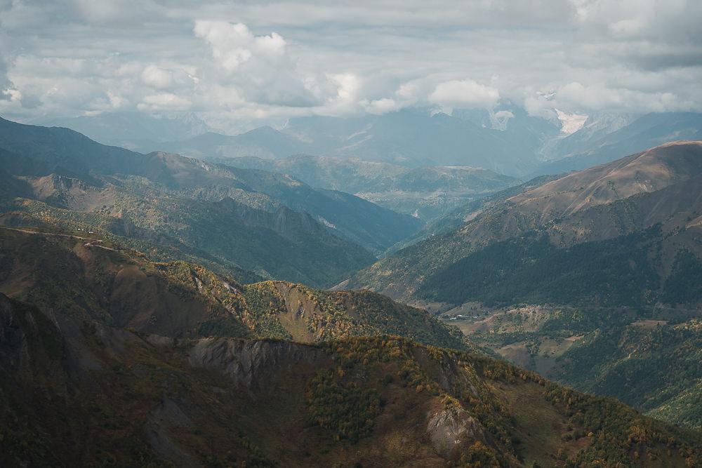 The view westward towards Mestia from the ridge on the Ushguli to Mestia hike