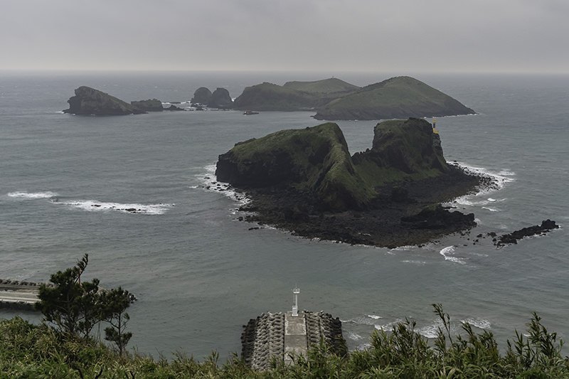 View of Wado and Chagwido at dusk from Dansangbong on Jeju Olle Trail Route 12