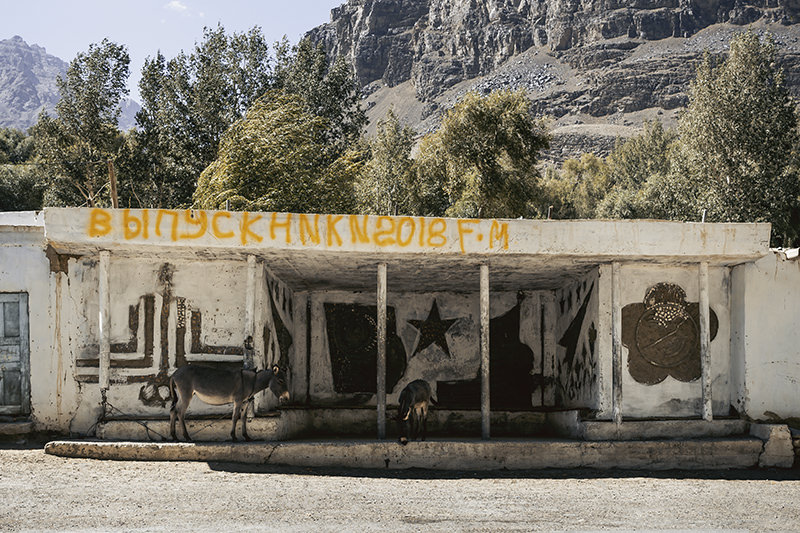 This Soviet bus stop along the Wakhan Valley is bursting with the remains of some fantastic imagery. The mountains rise behind and a donkey is tied up at the front.